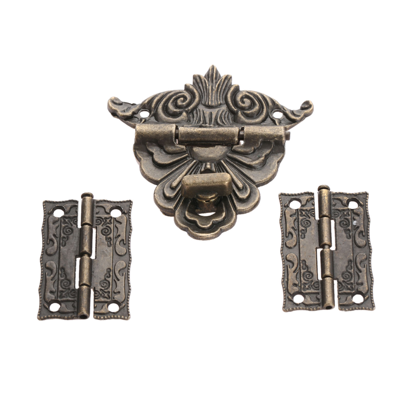 2Pcs Antique Bronze Cabinet Hinges With Jewelry Wooden Box Toggle Hasp Latch Clasp Vintage Hardware Set Furniture Accessories