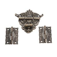 2 uds. Bisagras de gabinete de bronce antiguo con joyería caja de madera Cierre de cerrojo de palanca juego de accesorios de muebles de la vendimia