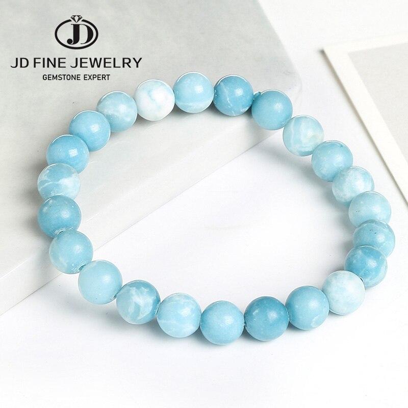 Larimar Gemstone Jewelry 141Carats AAA+ Larimar Gemstone 10mm Smooth Round Bracelet Natural High Quality Larimar Bracelet 7inch Long