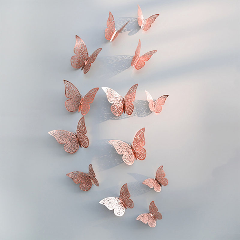 12pcs Beautiful Rose Gold Silver Wall Stickers 3D Hollow Butterfly Wall Decal For Wedding Birthday Party Home Room Decoration