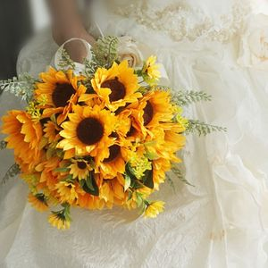Image 3 - Artificial Bridal Wedding Bouquet Romantic Handmade Bright Sunflower Linen Rope Handle Satin Ribbon Church Party Home Decoration