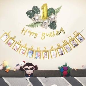 Newborn Milestone Photo Banner Baby First Year Birthday Party Decoration Photo Banner 12 Month Booth Garland Monthly Photograph