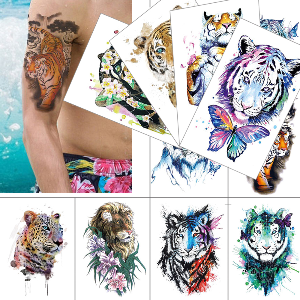 Beast Temporary Tattoo Sticker Tiger Lion Leopard Waterproof Fake Tattoo Fashion Animal Tattoo Men Women Flower Color Tattoo