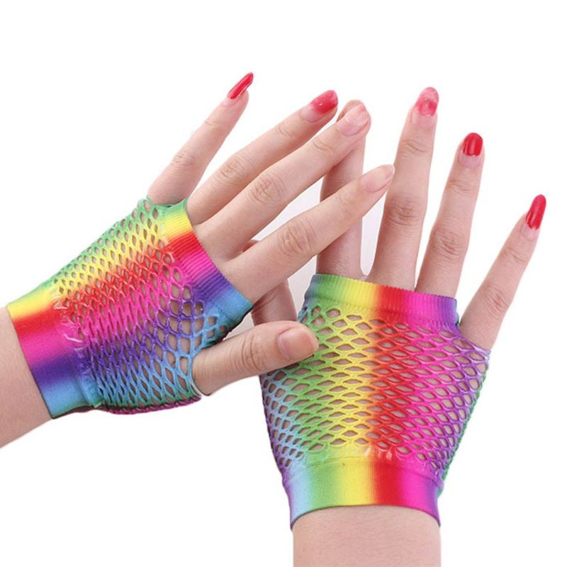 Womens Rainbow Stripes Short Fingerless Wedding Gloves Hollow Out Fishnet Wrist Length 80's Party Costume Stretchy Mittens