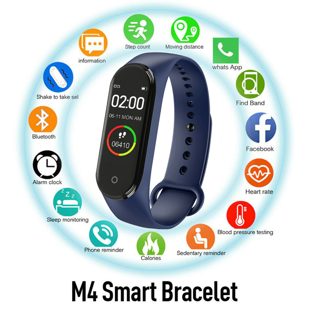Smart M4 Bracelets Men Women Waterproof Sports Wristband Phone Bluetooth Heart Rate Monitor Fitness Wristband For Android IOS