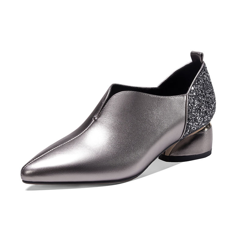 Spring Shoes Woman Mid Heels 2020 Women Pumps Pointed toe Office Lady Work Shoe Thick Heel Sequince Soft PU LEATHER Black Silver