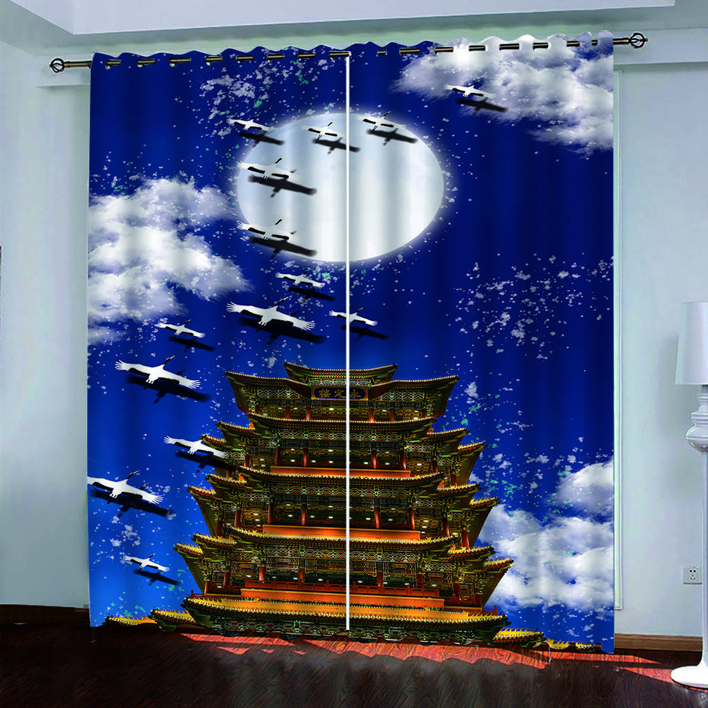 custom curtains for living room bedroom kitchen White cloud sky building window curtain 3D Blackout curtains