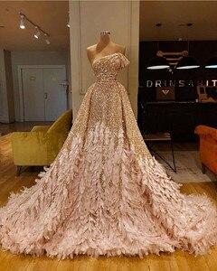 Image 5 - Glitter Gold Pailletten Meerjungfrau Feder Afrikanische Prom Kleider Langarm Eine Schulter Abendkleid Plus Größe Graduation Formal Kleid