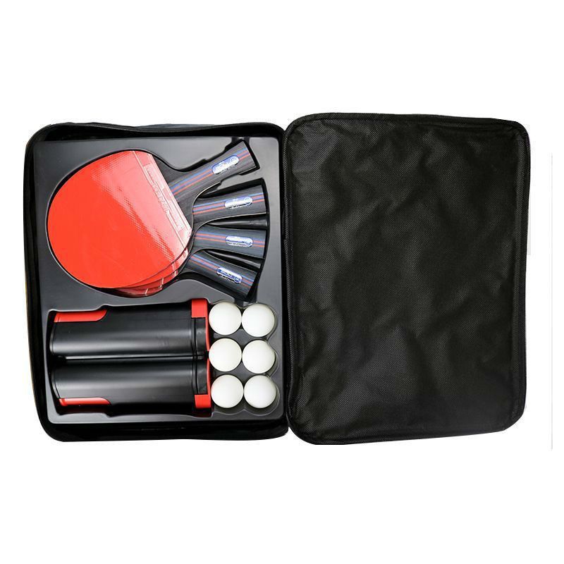 Купить с кэшбэком Table Tennis Racket Set Professional Rubber Carbon Pingpong Blade Bat Long Handle with 4 Table Tennis Rackets + 8 Balls + 1 Net