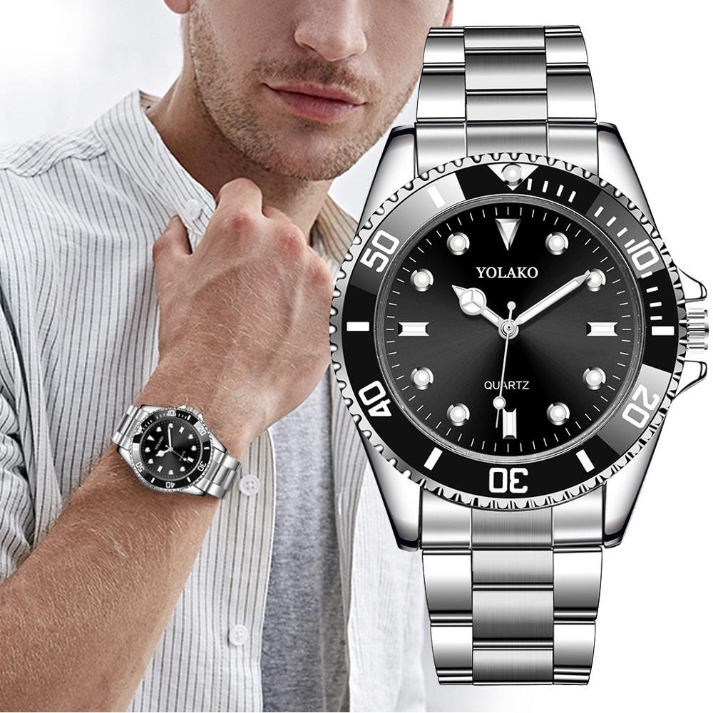 Quartz Wristwatches Waterproof Clock Rolexable Top-Brand Men's Luxury Steel Male Casual title=