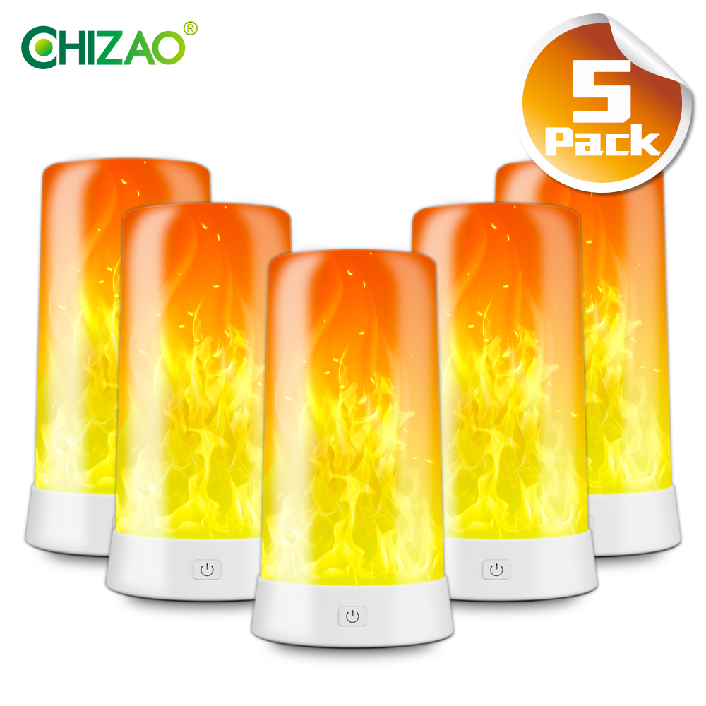 CHIZAO Flame effect light Decorative table lamp Night light USB charging Atmosphere light for Restaurant Bar Bedroom Living room