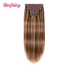 Gazfairy Real Human Hair Clip In Remy Extensions Double Weft Silky Straight 18'' 150g Full Head Ins Pure/Piano Color