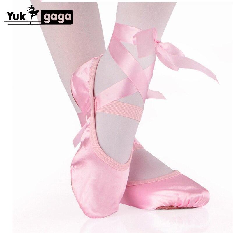 Балетки детские атласные, мягкая подошва, танцевальные туфли для начинающих