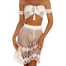 Off Shoulder Knitted Crochet Crop Top And Skirts Women 2 Piece Set Summer Bikini Beachwear Boho Lace Up Suit 2020 off the shoulder lace up shirred bikini set