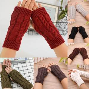 1Pair Womens Winter Knitted Stretch Keep Warm Riding Gloves With Mobile Phone Ladies Girls Fingerless Half Finger Gloves Mitten