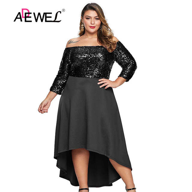 US $34.69 31% OFF|ADEWE Red Black Off Shoulder Sequin Plus Size Dress Slash  Neck Three Quarter Sleeve Women Party Dresses Evening Vestidos-in Dresses  ...