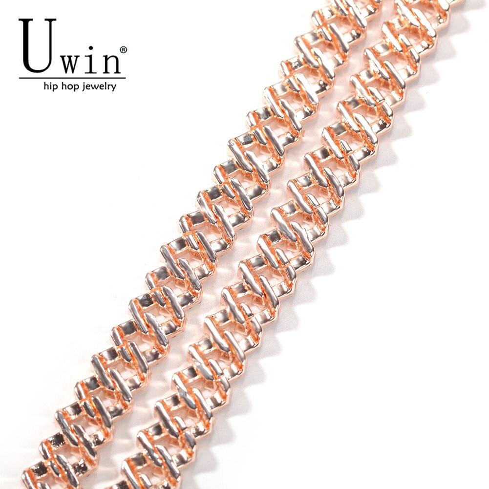 Uwin S-Link Miami 12mm Rose Gold Cuban Bracelet Pink Rhinestone Alloy Frozen Hip Hop Fashion Punk Necklace Jewelry