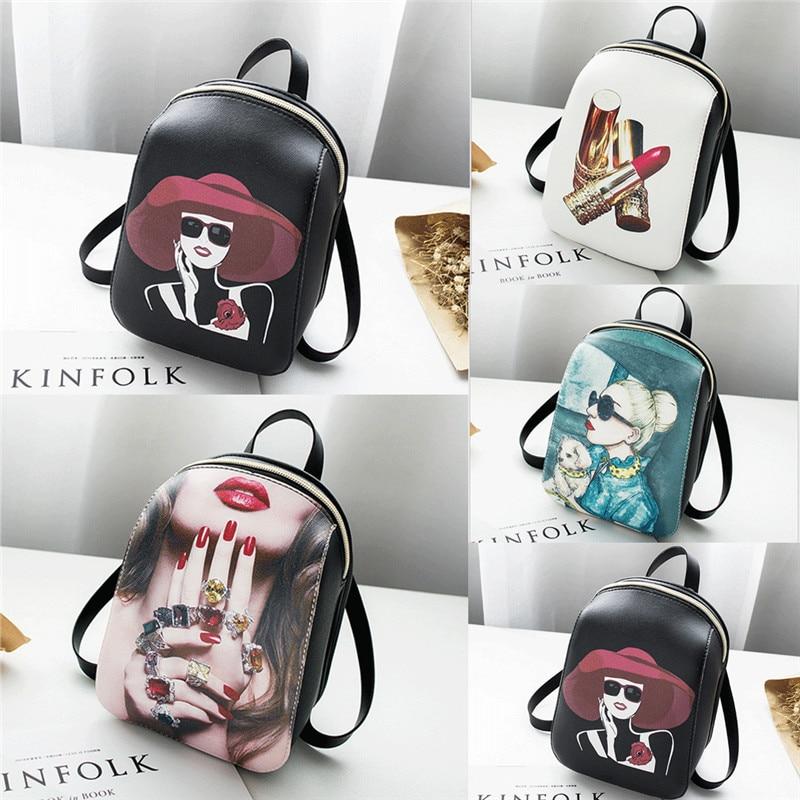 2019 Women Girls Ladies Backpack Travel Shoulder Bag Faux Leather Mini Rucksack