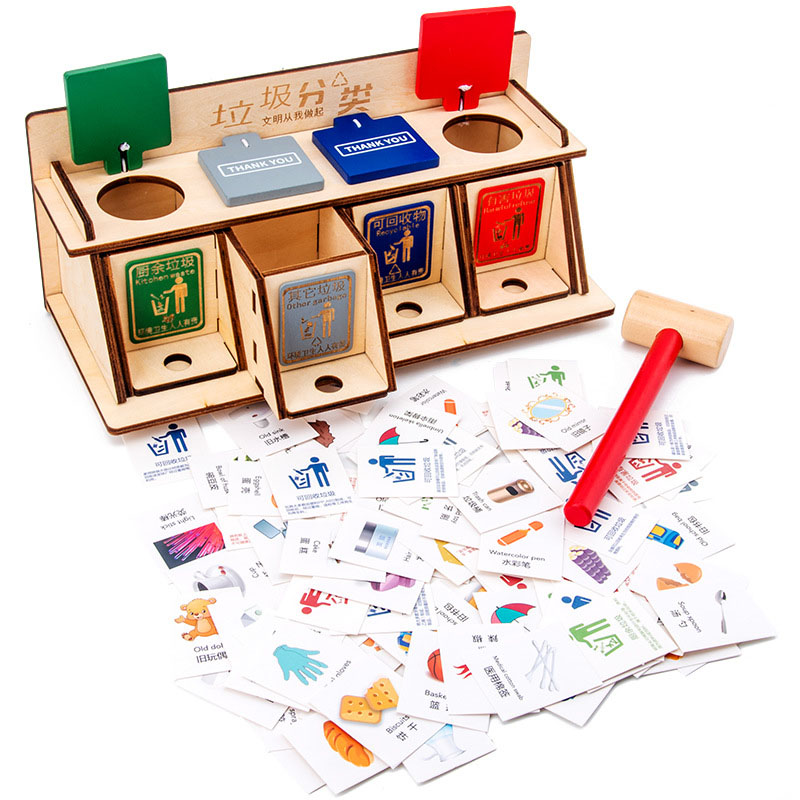 Montessori Garbage Sorting Toys Children Early Education Wooden Puzzle Toys Parent-child Desktop Interactive Game Props