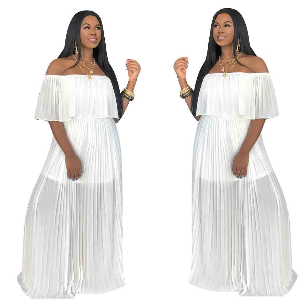 2019 Sexy Slash Hals A-lijn Strand Bohemian Jurk Vrouwen Mode Vlinder Mouw Geplooide Jurk Hoge Taille Maxi Jurk