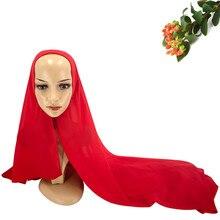 Скрытая Кнопка Для женщин Hijab шарф Мусульманский леди Пашмина твердый обруч шарфы для девочек подарок на год