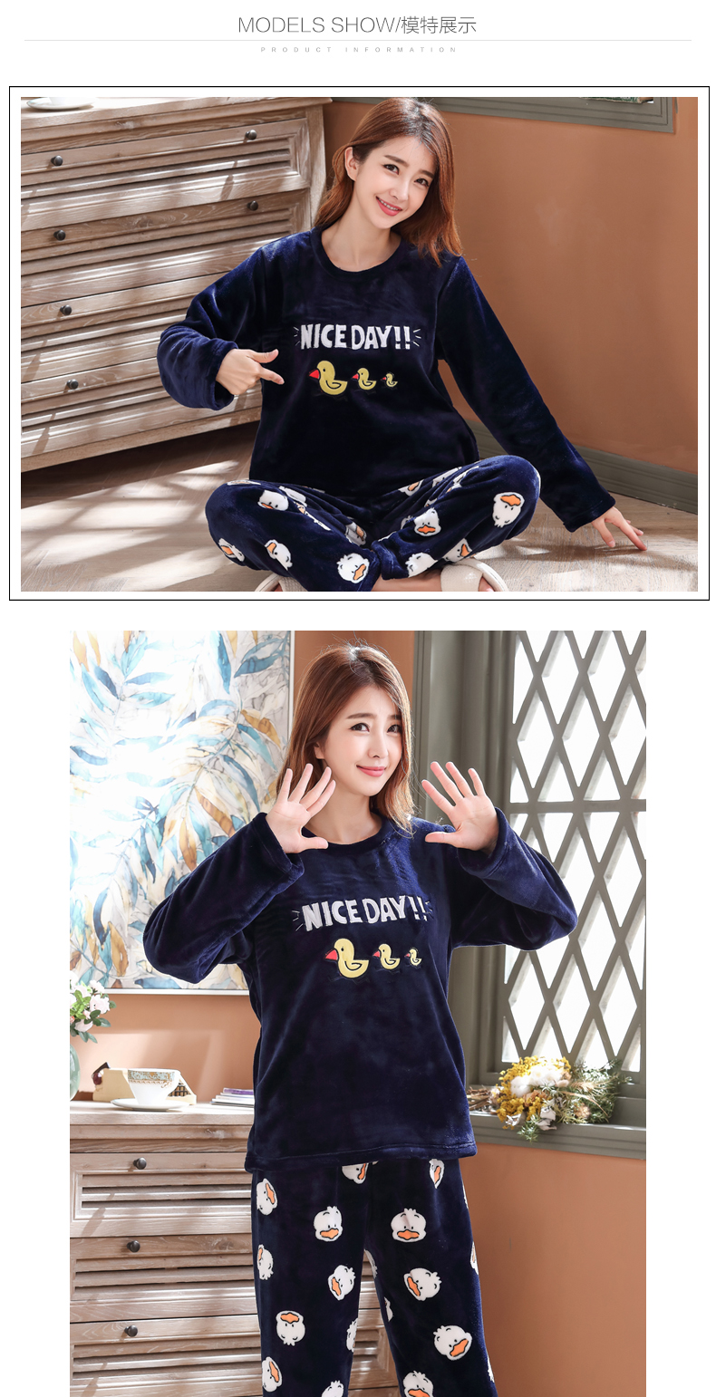 Long Sleeve Warm Flannel Pajamas Winter Women Pajama Sets Print Thicken Sleepwear Pyjamas Plus Size 3XL 4XL 5XL 85kg Nightwear 365