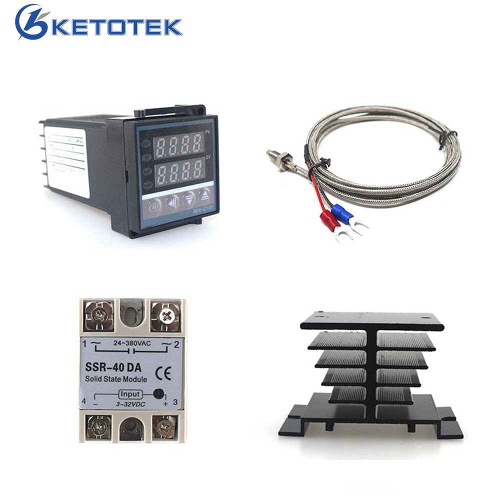 REX-C100 Digital PID Temperature Controller REX C100 40DA Relay SSR Output Thermostat Kit + K Thermocouple Probe / Heat Sink