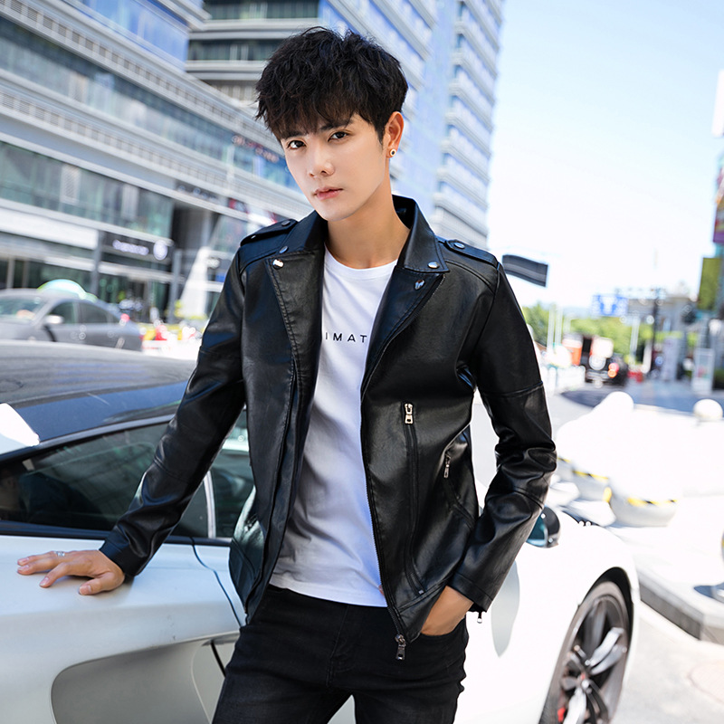 MEN'S Coat Spring And Autumn 2019 New Style Leather Coat Men's Slim Fit Korean-style Trend Handsome Popular Brand Leather Jacket