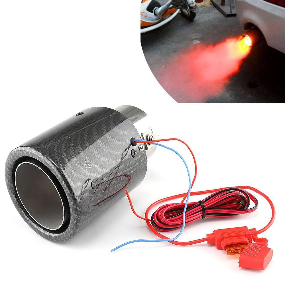 자동차 led 배기 머플러 팁 파이프 레드/블루 라이트 불타는 스트레이트 자동차 수정 된 단일 콘센트 배기 파이프 꼬리 목구멍 35-61mm