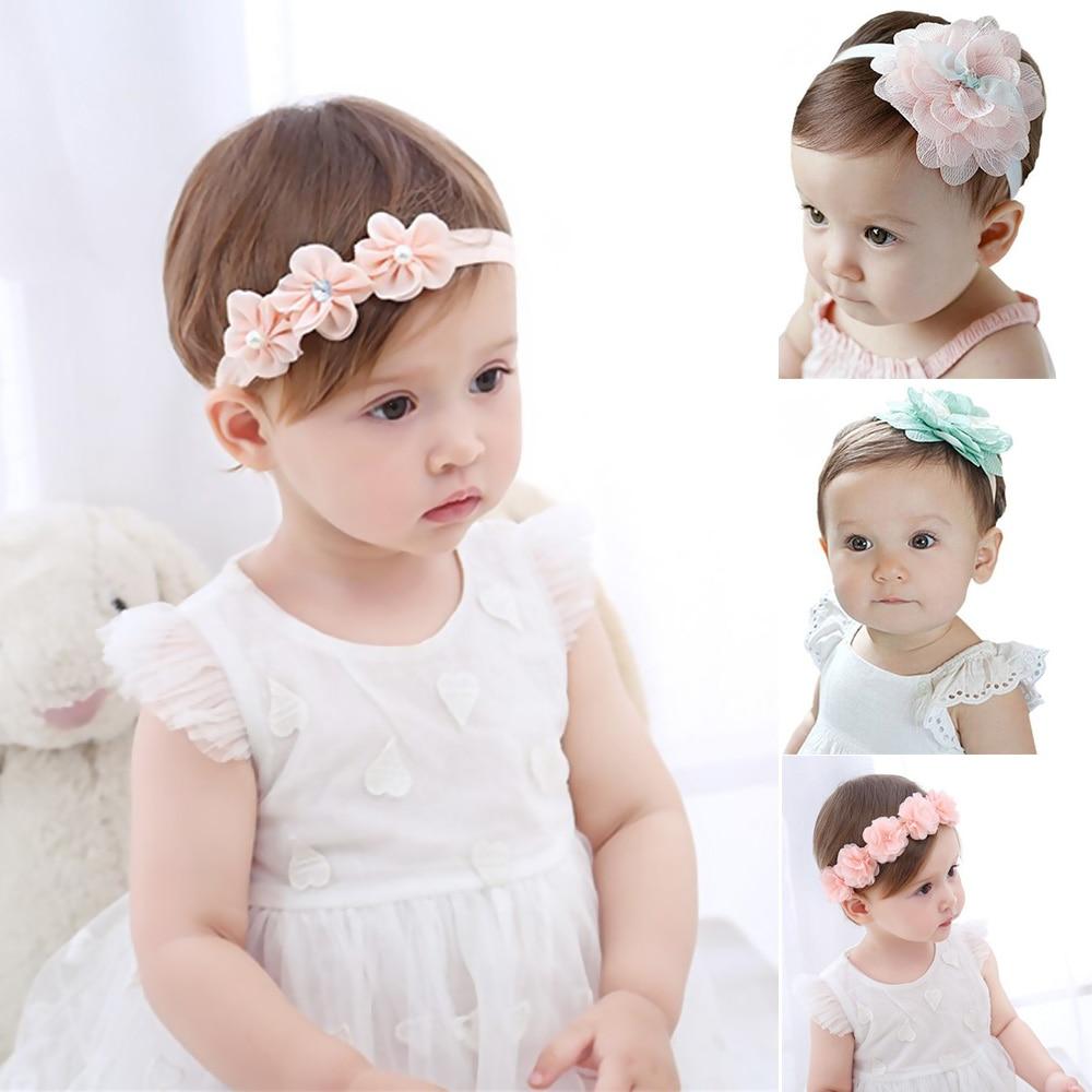 Kids Baby Headband Infant Turban Print Dot Bandana Bow Flower Elastic Hairband