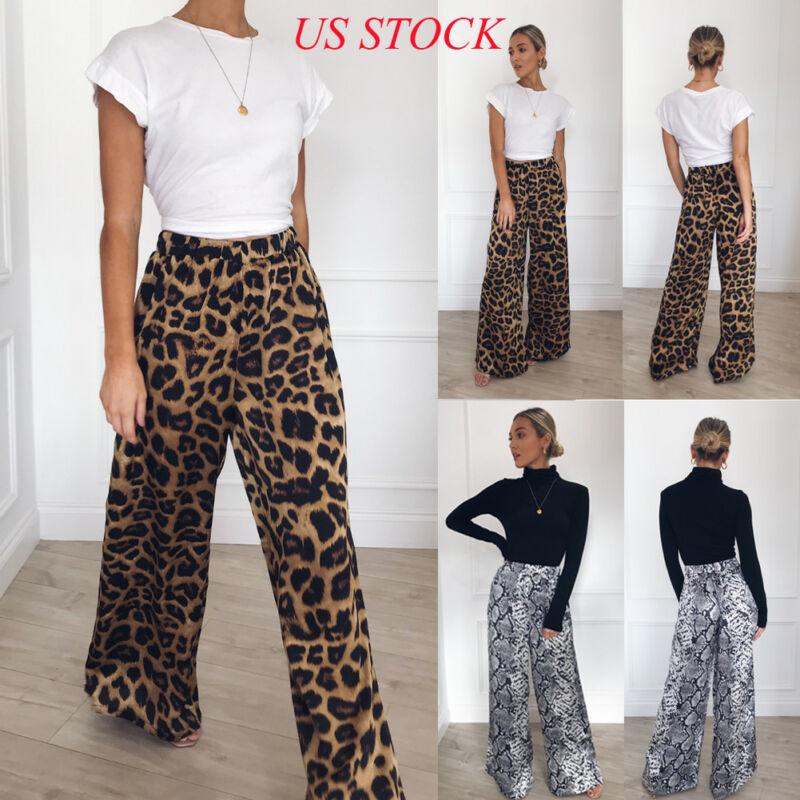 2020 High Quality Womens Long Length High Elastic Waist Leopard Plain Palazzo Wide Leg Flared Ladies Loose Trousers Pants