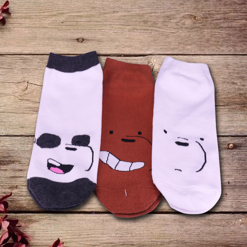 Grizz, Ice Bear And Panda Lovely We Bare Bear Socks