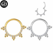 G23 Titanium Clicker Segment CZ Seamless Ring Hoop 16G Hinged Segment Nose Ear Tragus Cartilage Daith Helix Earring Jewelry