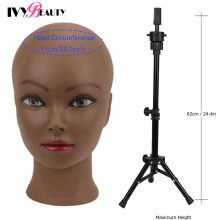 Female Bald Mannequin Head With Stand Cosmetology Practice African Training Manikin Head With Wig Stand Tipod For Mannequin Wigs