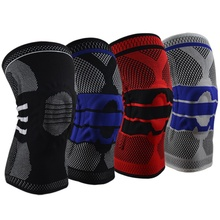 H 1pc Knee Pad Sleeve Breathable Shock Absorption Built-in Silicone Spring Bar Leg Warmer Protector Fitness Sports Accessories