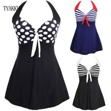 TYAKKVE Sexy One Piece Halter Stripe Women Plus Size Swimwear Skirt Push Up Bathing suit Tankini SwimSuit Dress Vintage Monokini