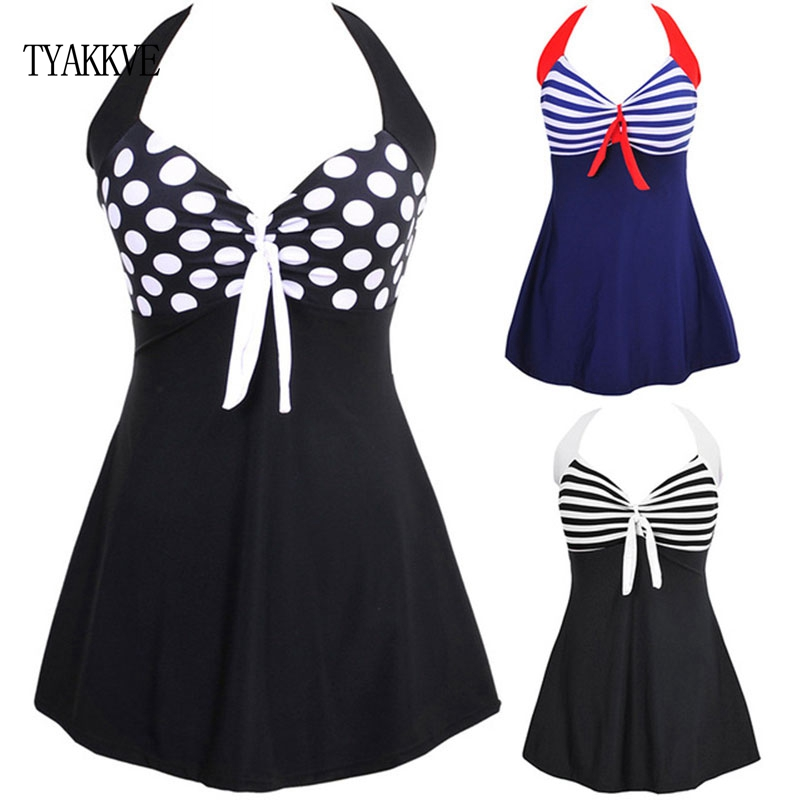 TYAKKVE Sexy <font><b>One</b></font> <font><b>Piece</b></font> Halter Stripe Women <font><b>Plus</b></font> <font><b>Size</b></font> Swimwear <font><b>Skirt</b></font> Push Up <font><b>Bathing</b></font> <font><b>suit</b></font> Tankini SwimSuit Dress Vintage Monokini image