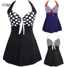 TYAKKVE סקסי חתיכה אחת הלטר פס נשים בתוספת גודל בגדי ים חצאית לדחוף את בגד ים Tankini בגד ים שמלת וינטג Monokini