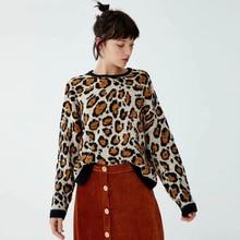 KIYUMI Sweater Women Yellow Leopard Urgan Gypsy Tops For Woman 2019 New Autumn Winter Long Sleeve O-neck Casual Sweaters