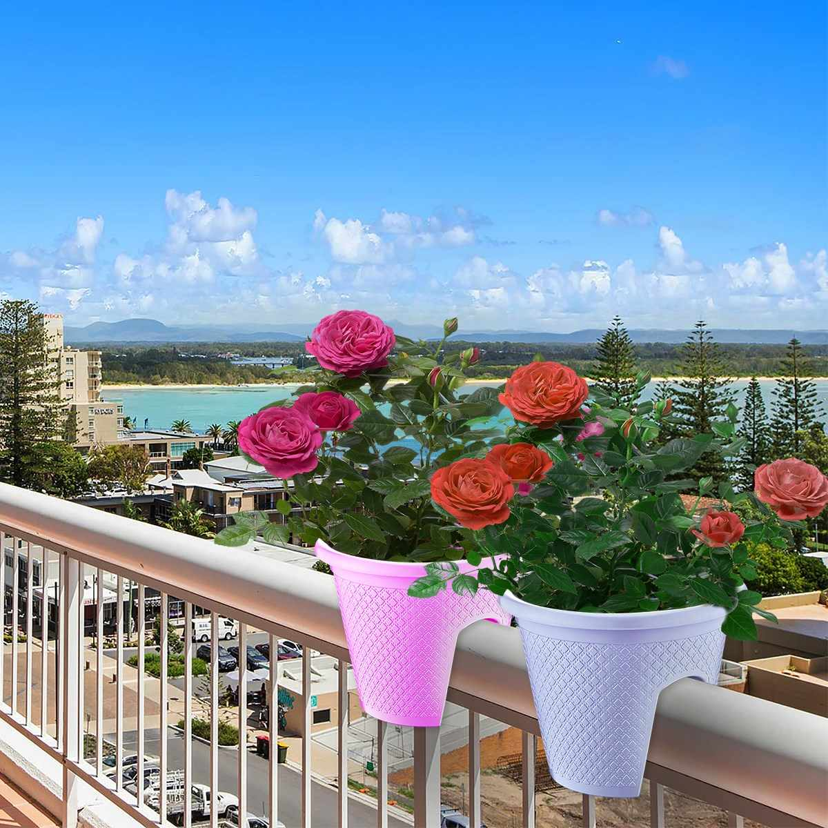 Picture of: Balcony Railing Planter For Small Balcony Locked Type Decoration Plastic English Made Mixed Colors Set Of 2 Flower Pots Planters Aliexpress