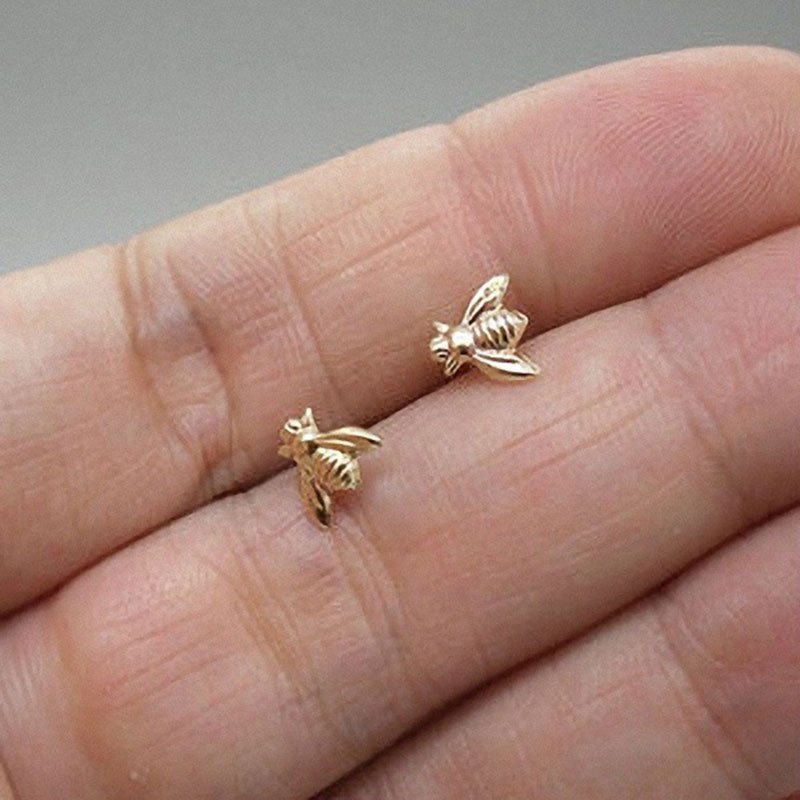 2018 Hot Sale 1 Pair Cute Tiny Bee Earring Jewelry Rose Gold/Silver Plated Honey Bee Earrings Stud Unique Earrings Jewelry Women