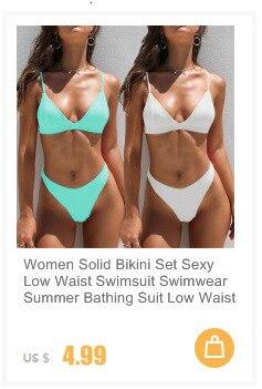 Женский Одноцветный комплект бикини, сексуальный купальник с низкой талией, купальник, летний купальный костюм, низкая талия, пляжная одежд... 18