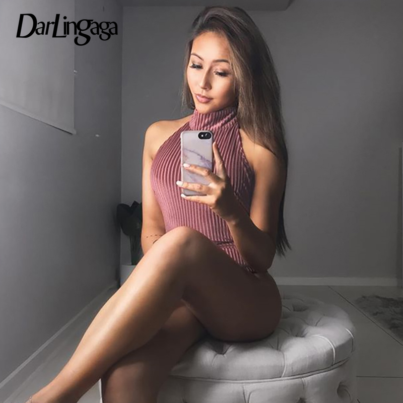 Darlingaga Fashion Pink Velour Tank Sexy Bodysuit Women Sleeveless One Piece Jumpsuit Body Ladies Basic Bodysuits Summer Rompers