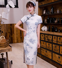 Short Sleeve Women Cheongsam Elegant Knee Length Qipao Chinese Style Summer Party Dress Classic Mandarin Collar Gowns Vestido(China)