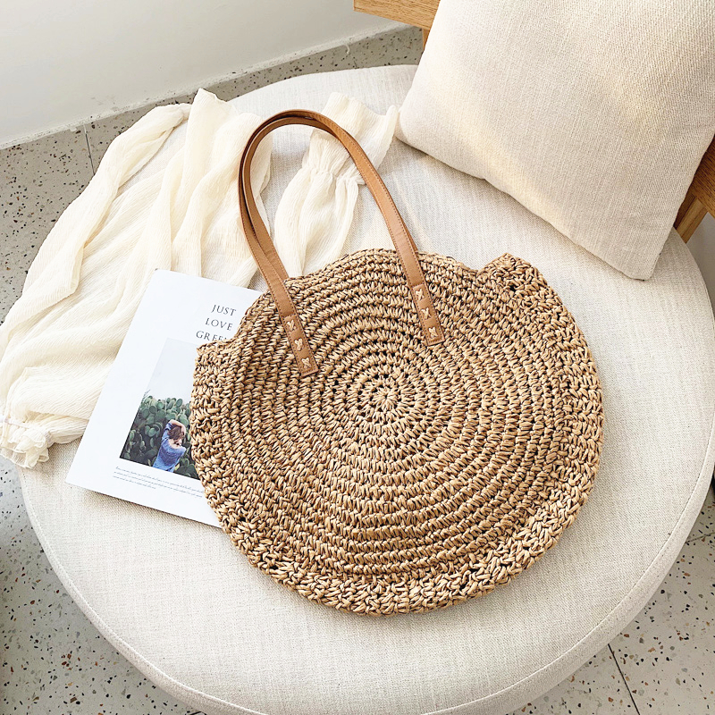 Round Straw Tote Bags for Summer