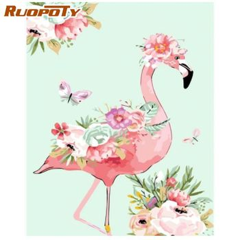RUOPOTY 60x75cm Flamingo Animal DIY Painting By Numbers HandPainted Painting Canvas Colouring Artwork Home Decor Fun at Home