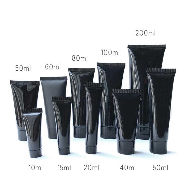 10 мл 30 мл 50 мл 100 мл 200 г черная пустая косметическая бутылка-контейнер для сливочного крема упаковка пластиковая мягкая туба Бесплатная дост...