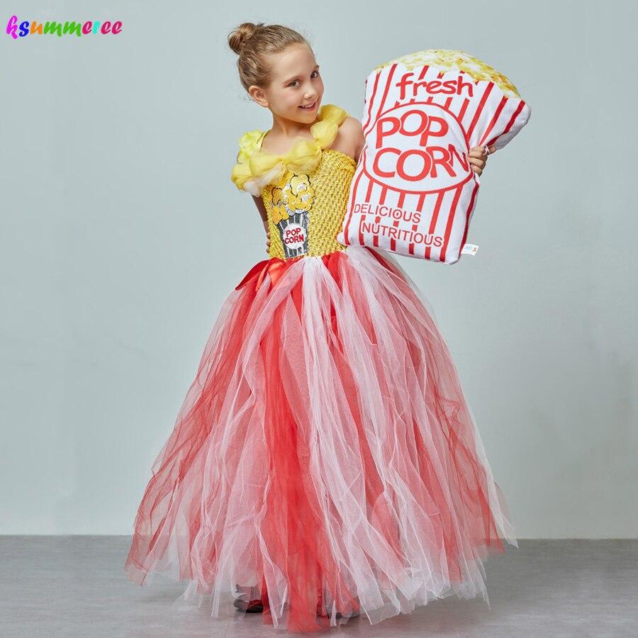 Adorable Popcorn Inspired Girls Tutu Dress Red & White Tulle Children Birthdays Halloween Dress Up Costume Kids Flower Ball Gown 2