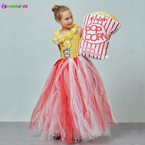 Image 2 - Adorable Popcorn Inspired Girls Tutu Dress Red & White Tulle Children Birthdays Halloween Dress Up Costume Kids Flower Ball Gown