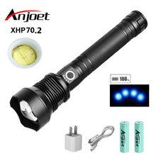 Anjoet лампа xhp702 мощный фонарик usb zoom led Фонарь 18650